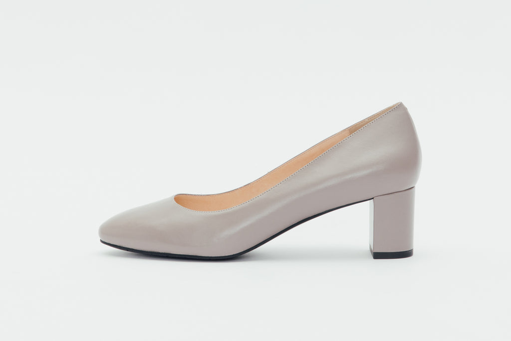 Leather Round-Toe Pumps-Grey 9T52201 - GYK