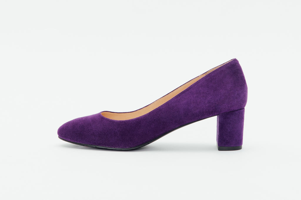 Leather Round-Toe Pumps-Purple 9T52201 - PUS
