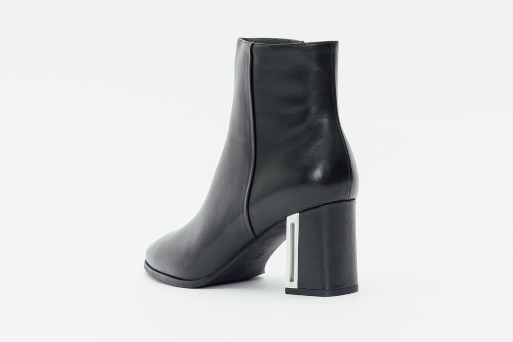 Leather Ankle Boots with Metal Detail - Black
