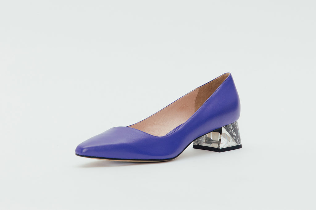 Leather Block-Heel Pumps with marble detail - Purple