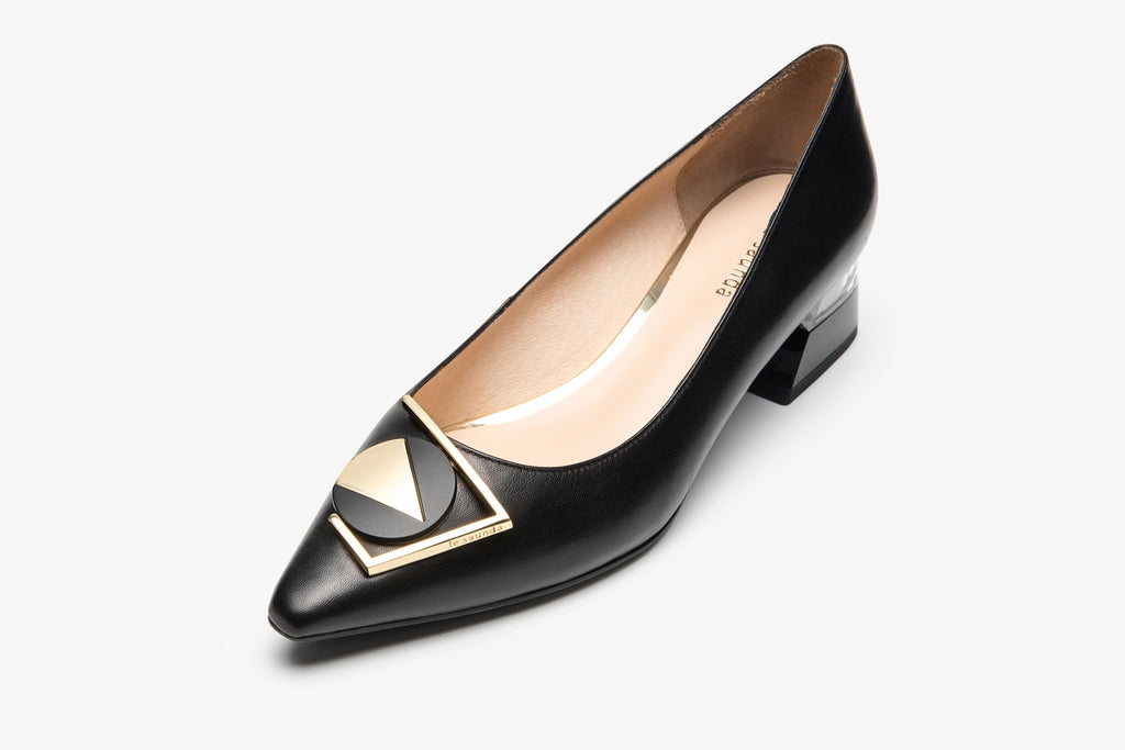 Triangle Leather Shoes with Geometric Heels - Black
