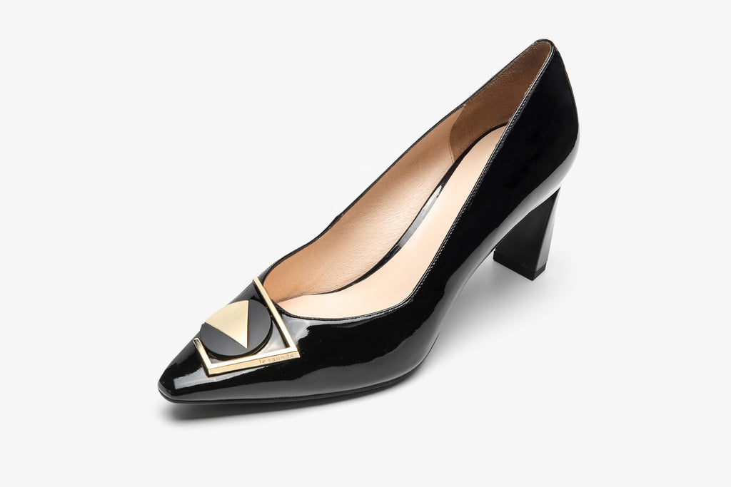 Leather High Heel Shoes with Geometric Detail - Black