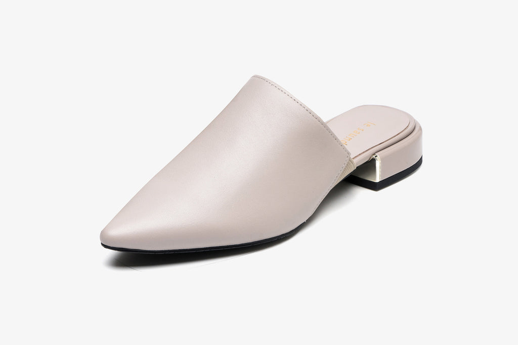 Leather Mules - Grey