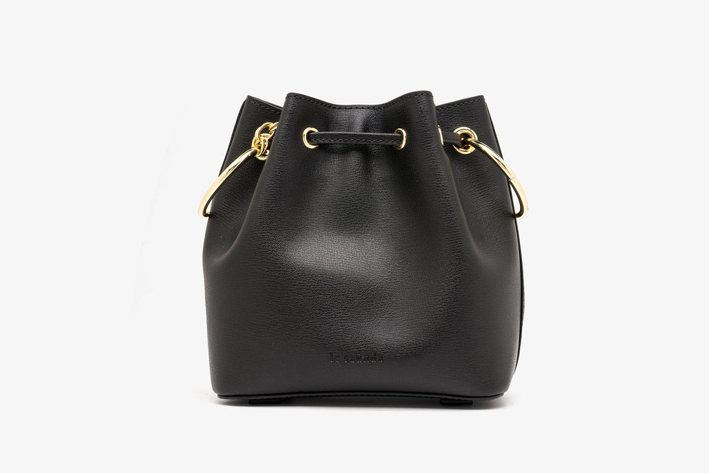 Bucket Bag in Printed Leather - Black