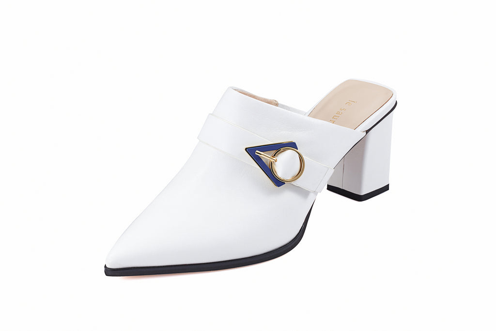Leather mules with Geometric Detail - White AM73301 - WTK