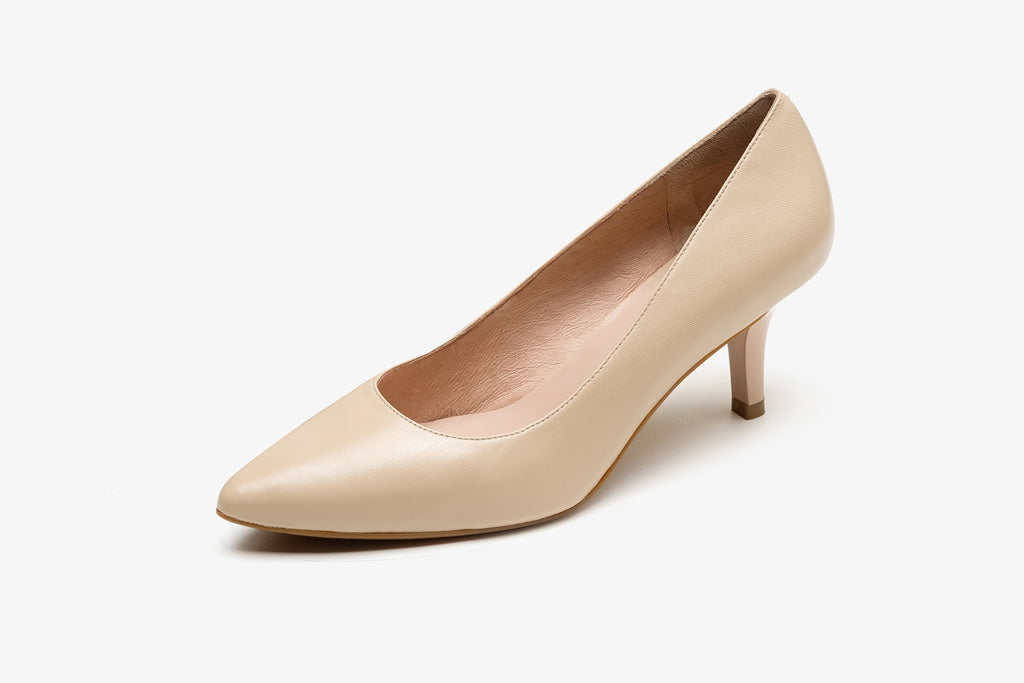 Classic Leather Pumps - Beige