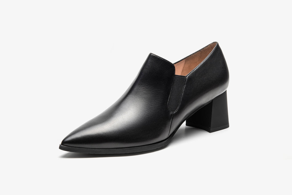 Block-Heel Leather Shoes - Black AT54417