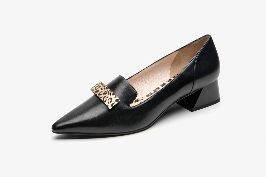 Heeled Loafers with Leopard Detail - AT32713 BKK
