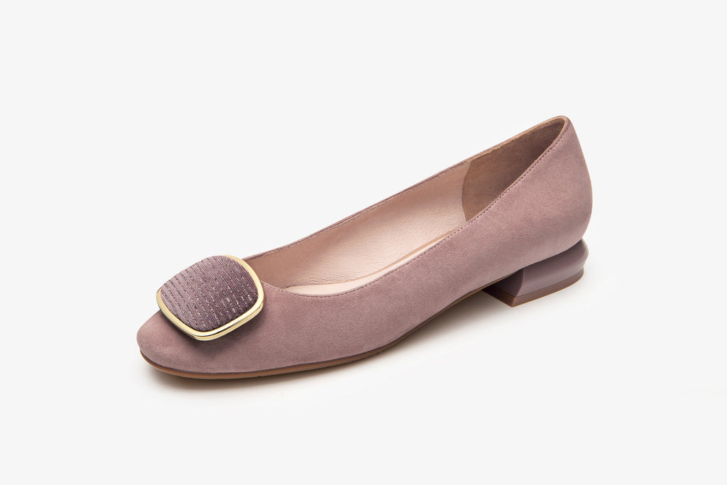 Classic Leather Flats with Buckle Detail - Dark Pink AT22903