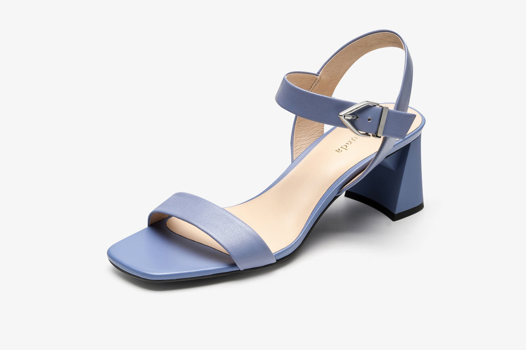 Leather Block Heel Sandals - Blue