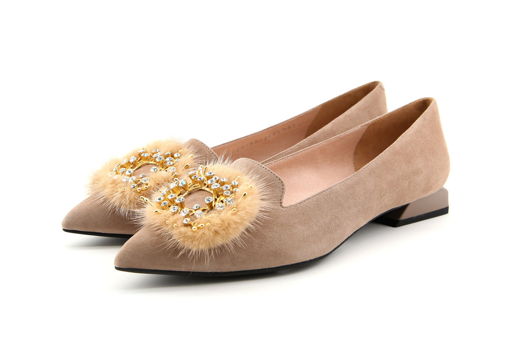 Loafers with Faux Fur Pom Poms Detail - Tapue AT13025