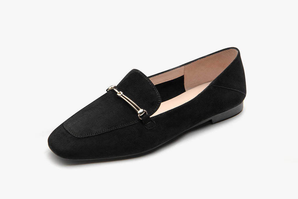 Suede Leather Loafers with Buckle - Black AT18801