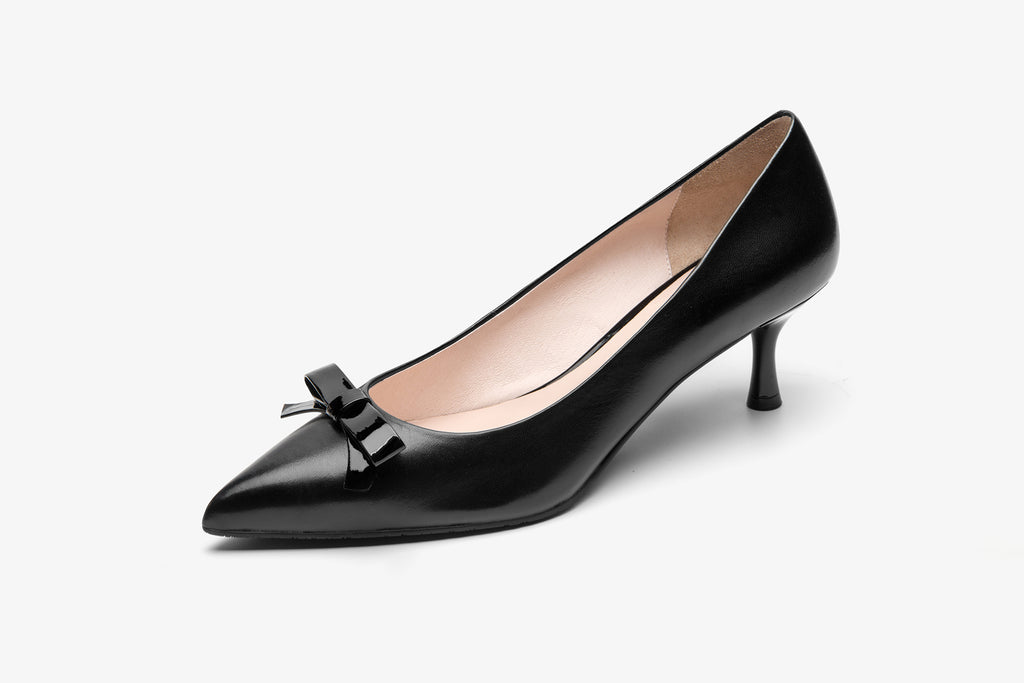 Leather Pumps with Bow Detail - Black AT53204