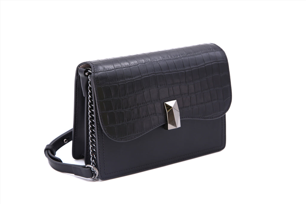 Leather Crossbody Bag with Chain Detail - Black ATH7629