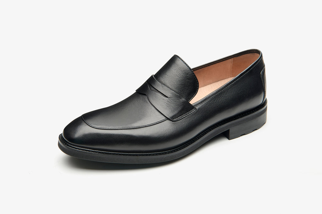 Men's Leather Loafers - Black ATM48206