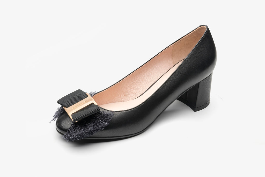 Block-Heel Shoes with Bow Detail - Black AT60203