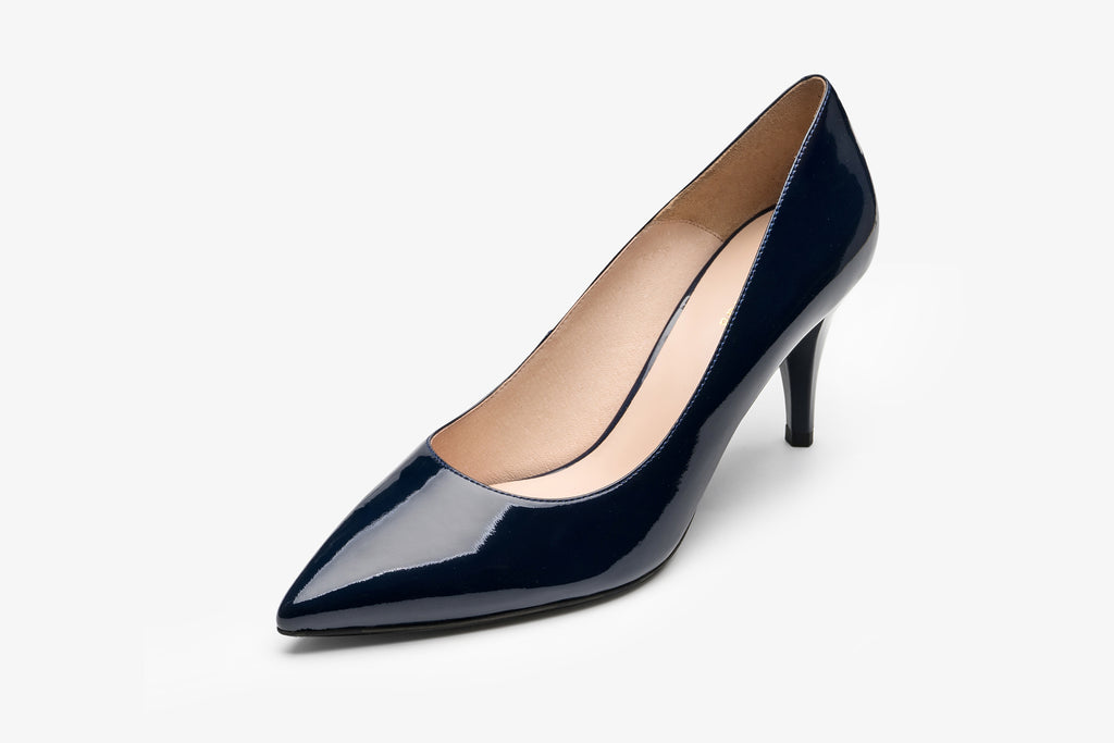 Patent Leather Pumps - Navy