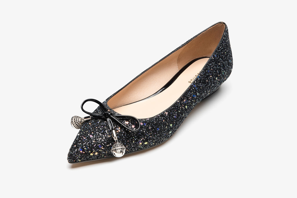 Ballet Flats With Bow Detail - Black