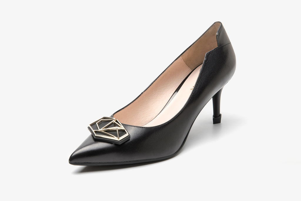 Millennium Wheel Leather Pumps - Black AT87515