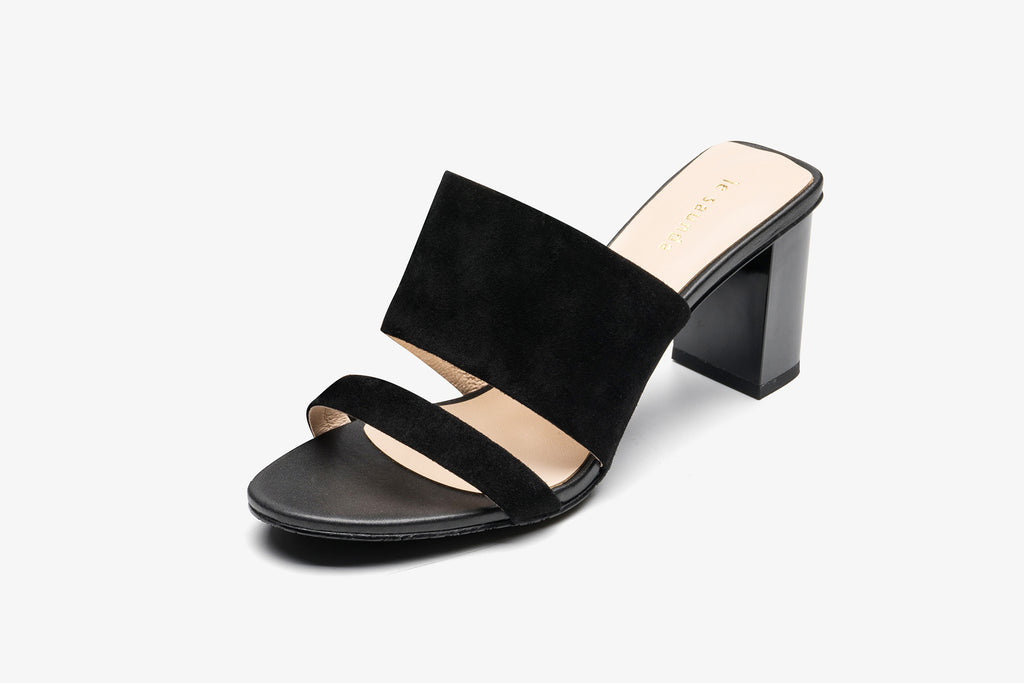 Block Heel Leather Mules - Black