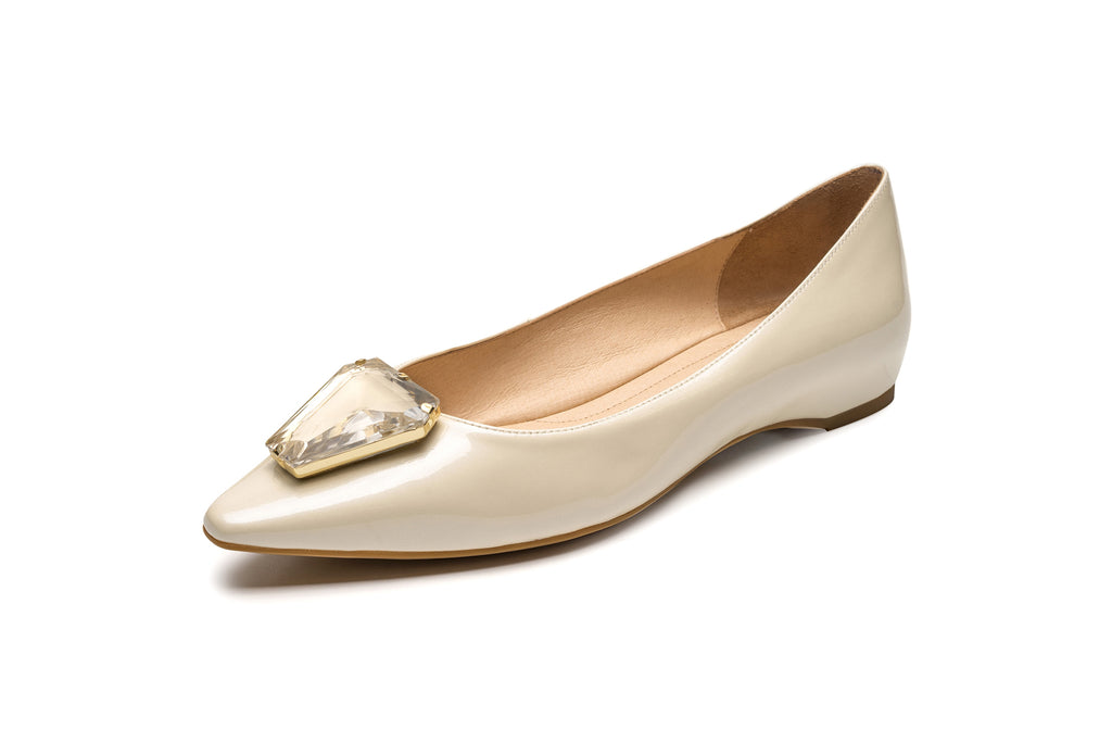 Ballet Flats with Triangle Detail - Beige