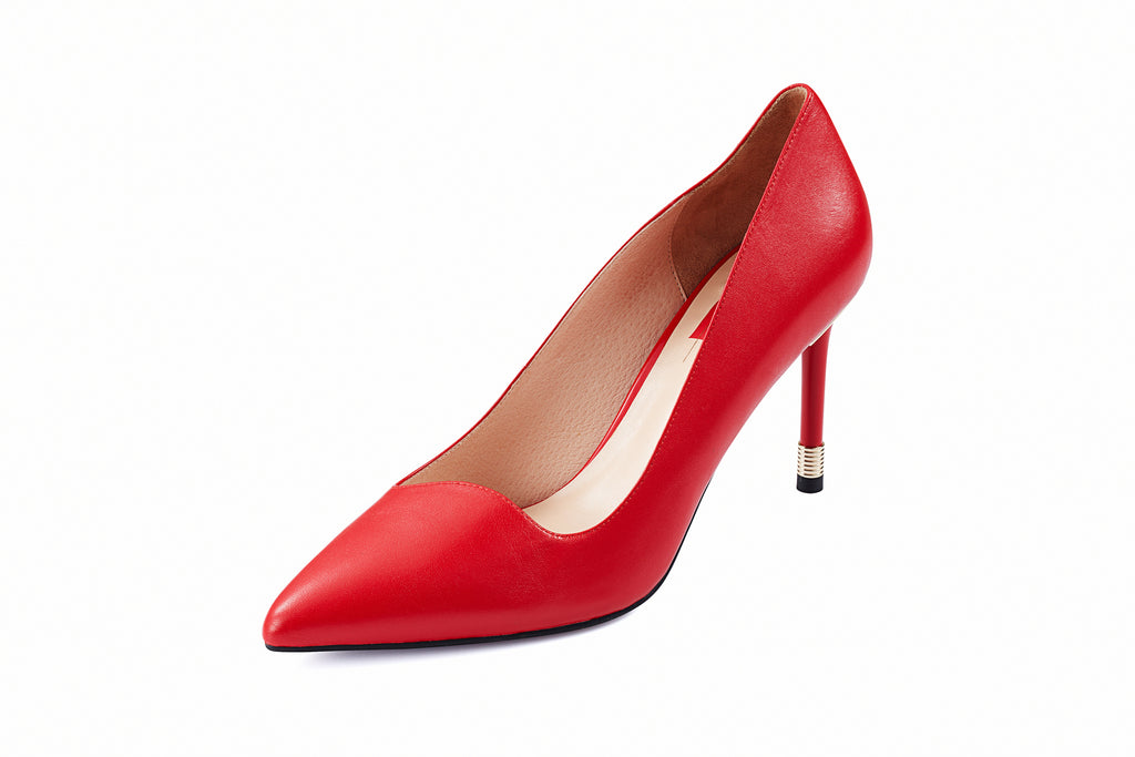 Love Key Leather Pumps - Red