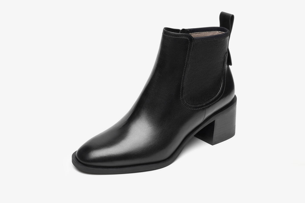 Leather Cowboy Block-heel Ankle Boots - Black AT58802