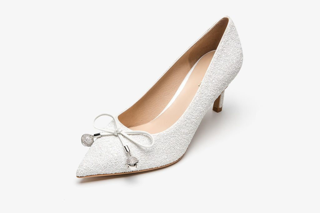 Pointed-Toe heels With Bow Detail - White