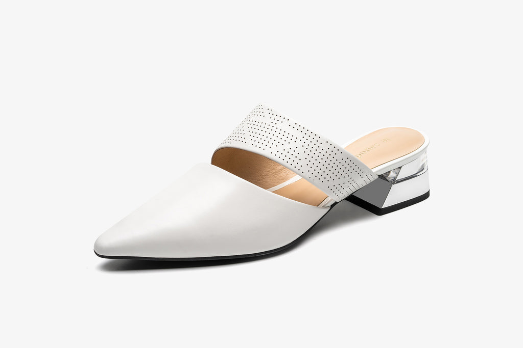 Leather Mules with Geometric Heels - White
