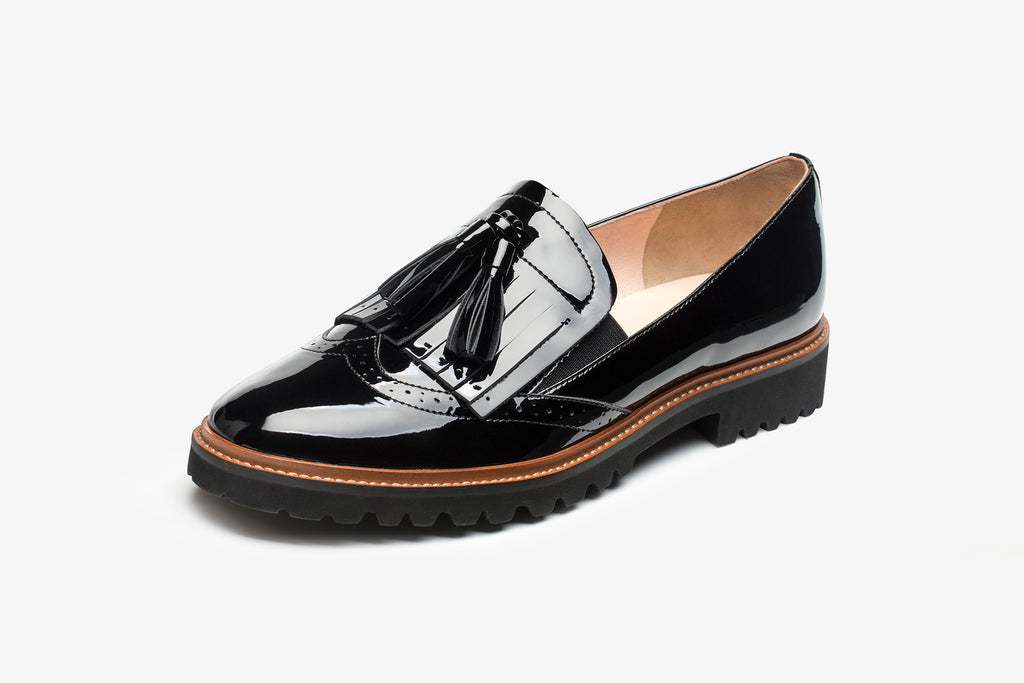 Casual Leather Platform Loafers - Black AT23610