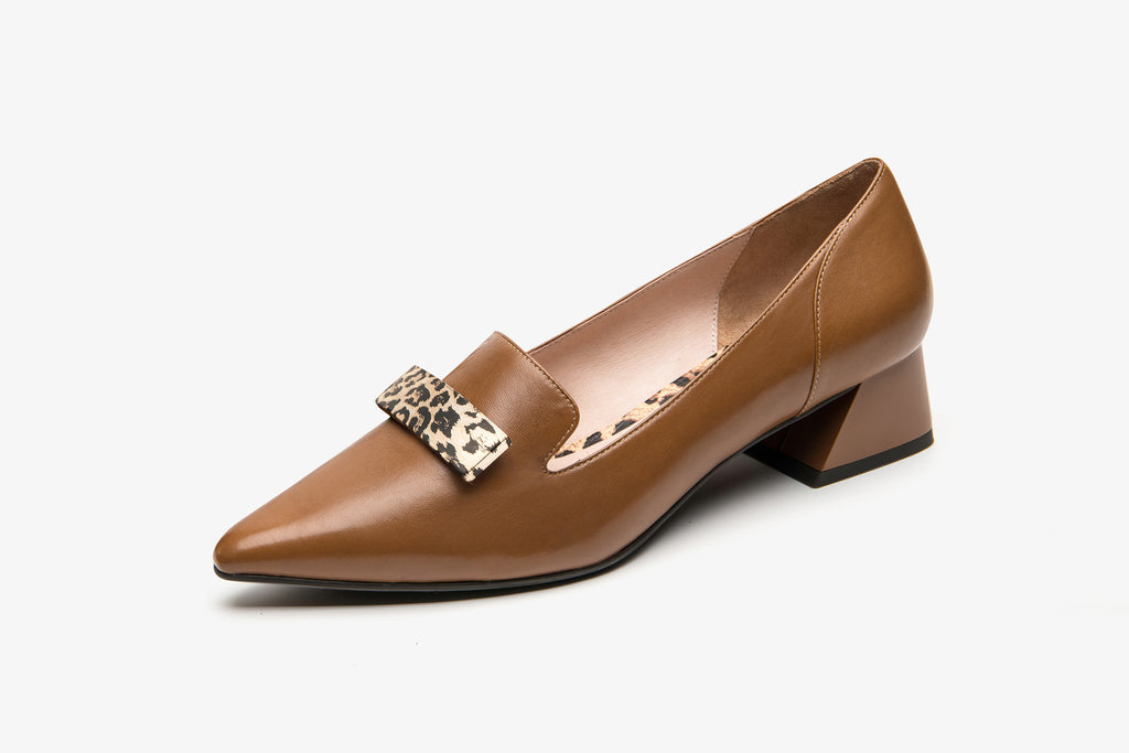 Heeled Loafers with Leopard Detail - Brown AT32713