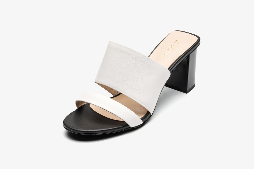 Block Heel Leather Sandals - White AM70501 - WTK