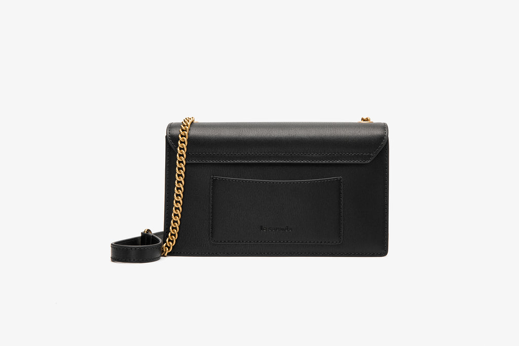 Leather Buckle Crossbody Bag - Black ATH7631