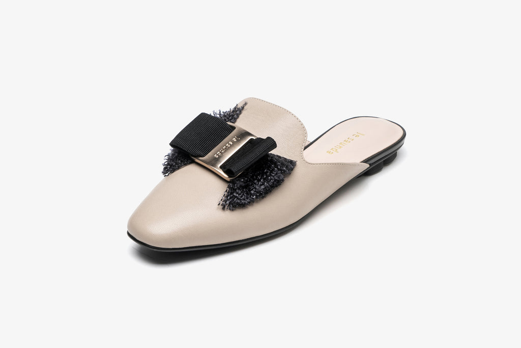 Leather Mules with Bow Detail - Dark Beige AM05801 - BDK
