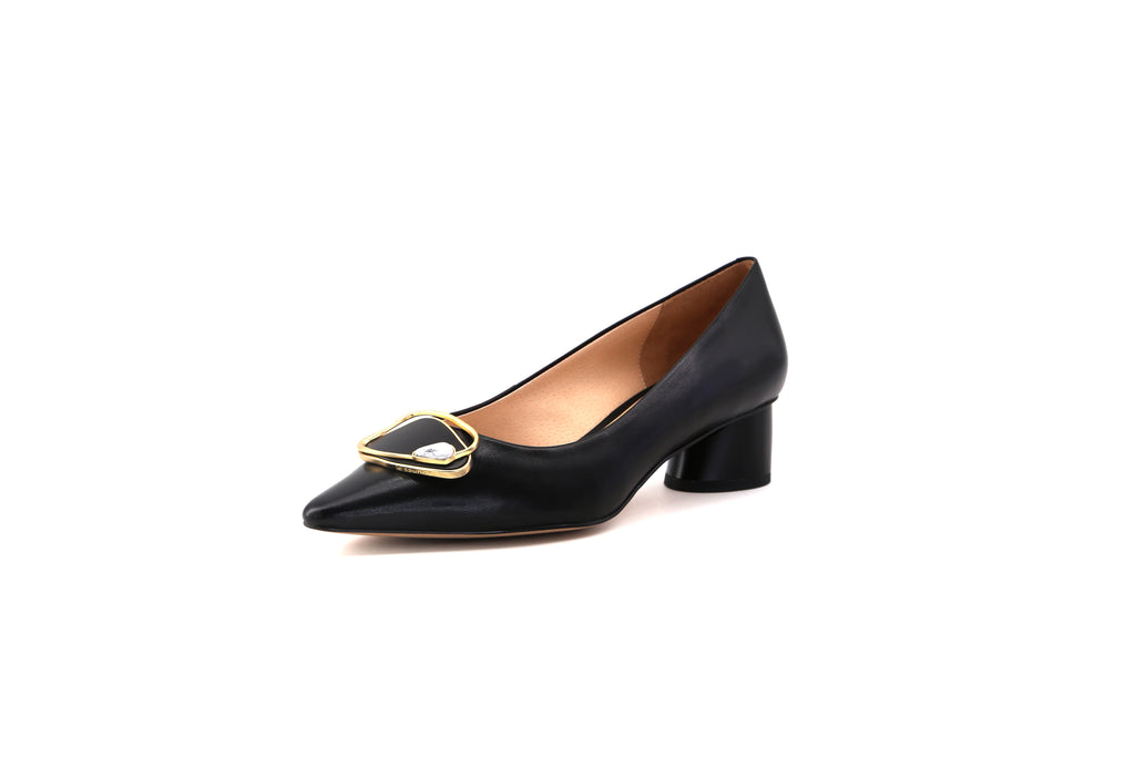 Leather Block-Heel Shoes - Black 1M32720 BKK
