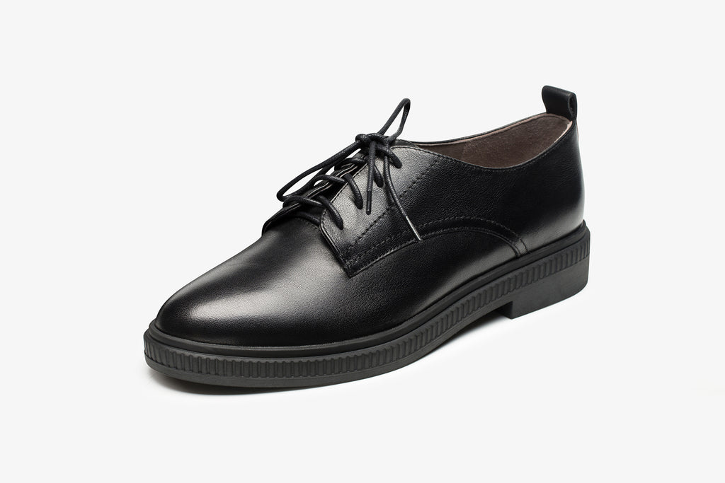 Casual Leather Lace-up Shoes - Black AT34403