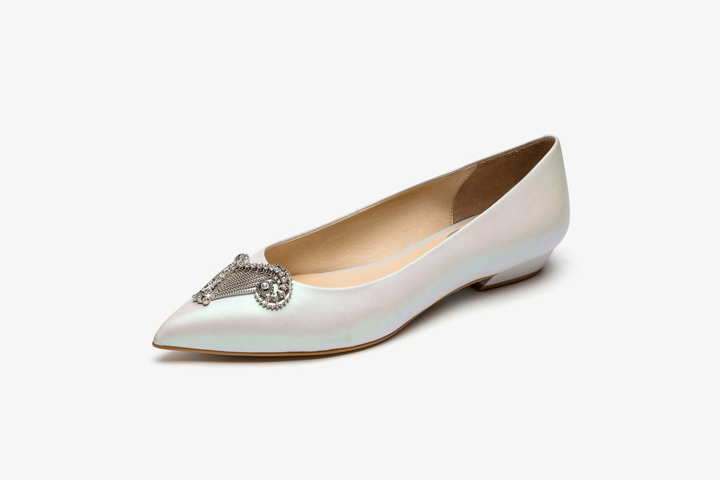 Angel Harp Ballet Flats - White