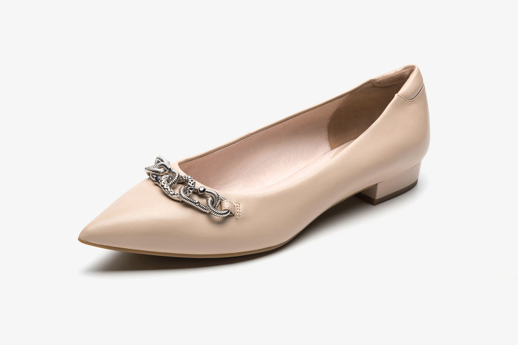 Inception Pointed-Toe Flat Shoes with Metal detail - Beige AT11503