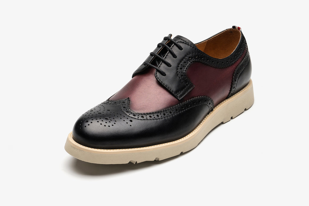 Men's Two-Tone Leather Shoes - Bordo