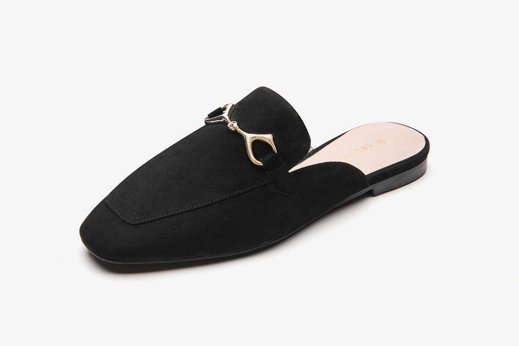 Suede Leather Mules with Buckle - Black AT18802