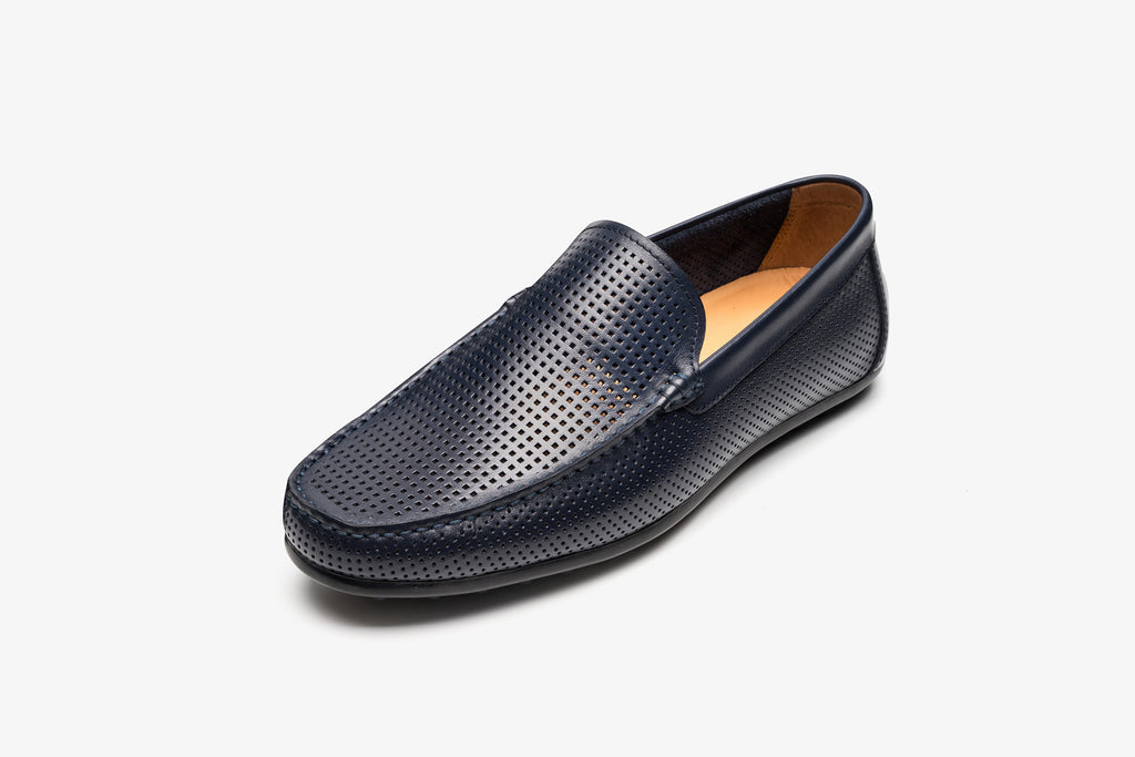 Men's Leather Driving Shoes - Navy