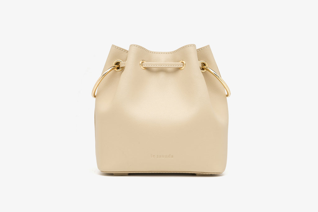 Bucket Bag in Printed Leather - Beige
