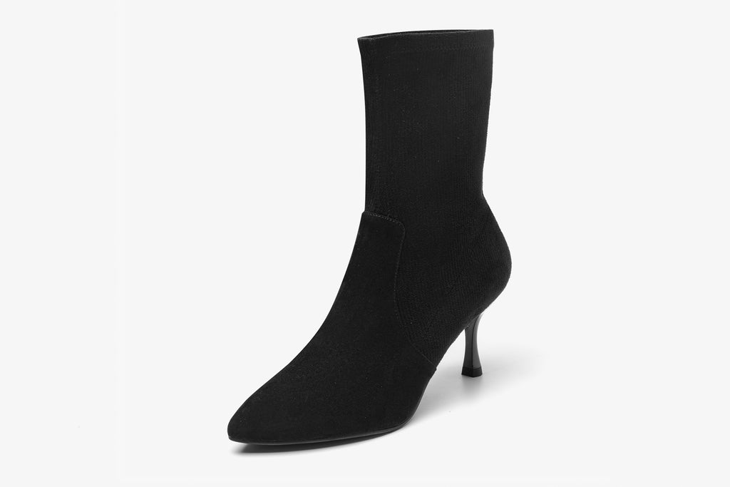 Suede High-Heel Boots - Black AT71601