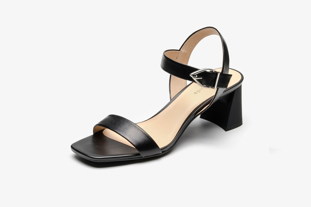 Leather Block Heel Sandals - Black