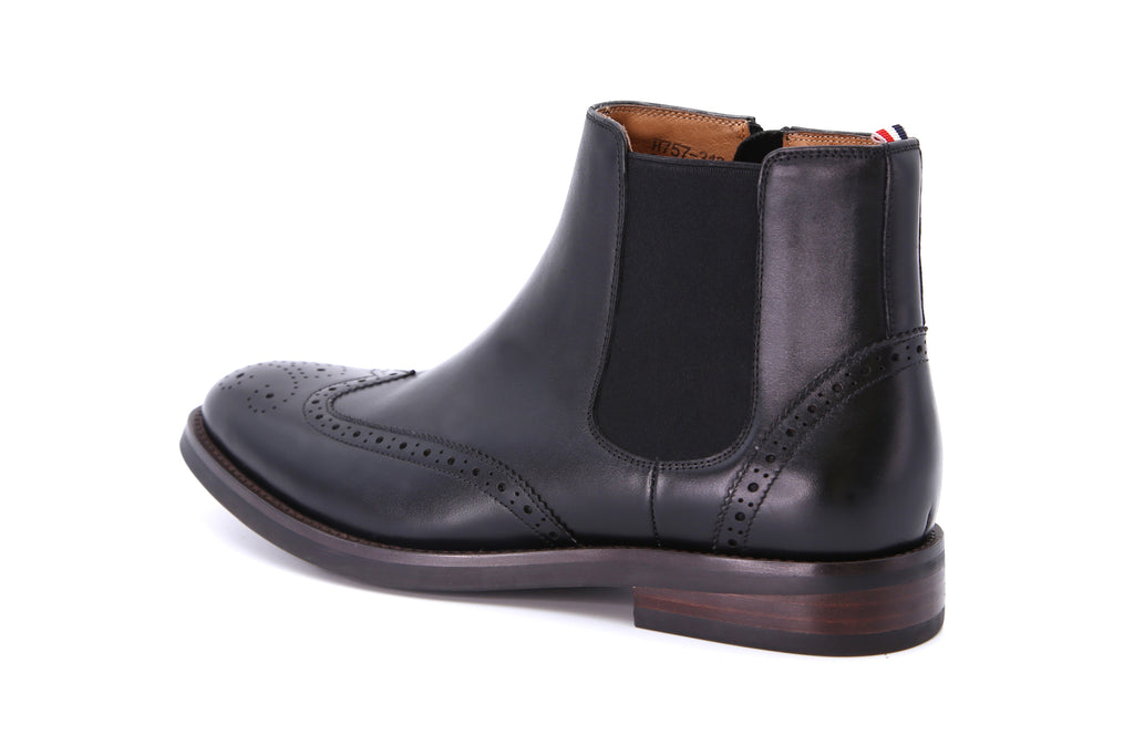 Men's Leather Ankle Boots - Black ATM85709