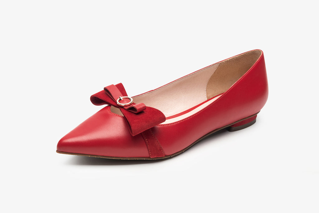 Pointed-Toe Flats With Bow and Leopard Detail - Red AT10330