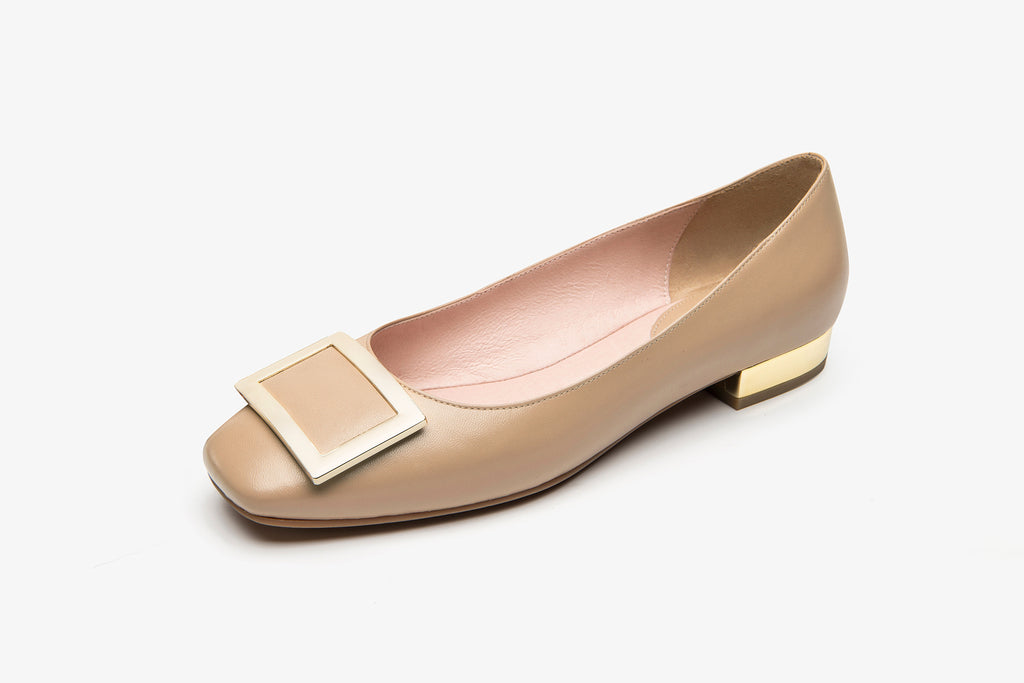 Square-Toe Buckle Flat Shoes - Dark Beige AT15602