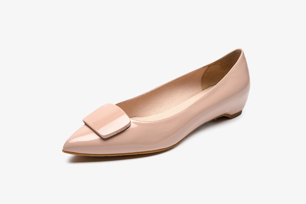 Patent Leather Ballerinas with Detail - Beige