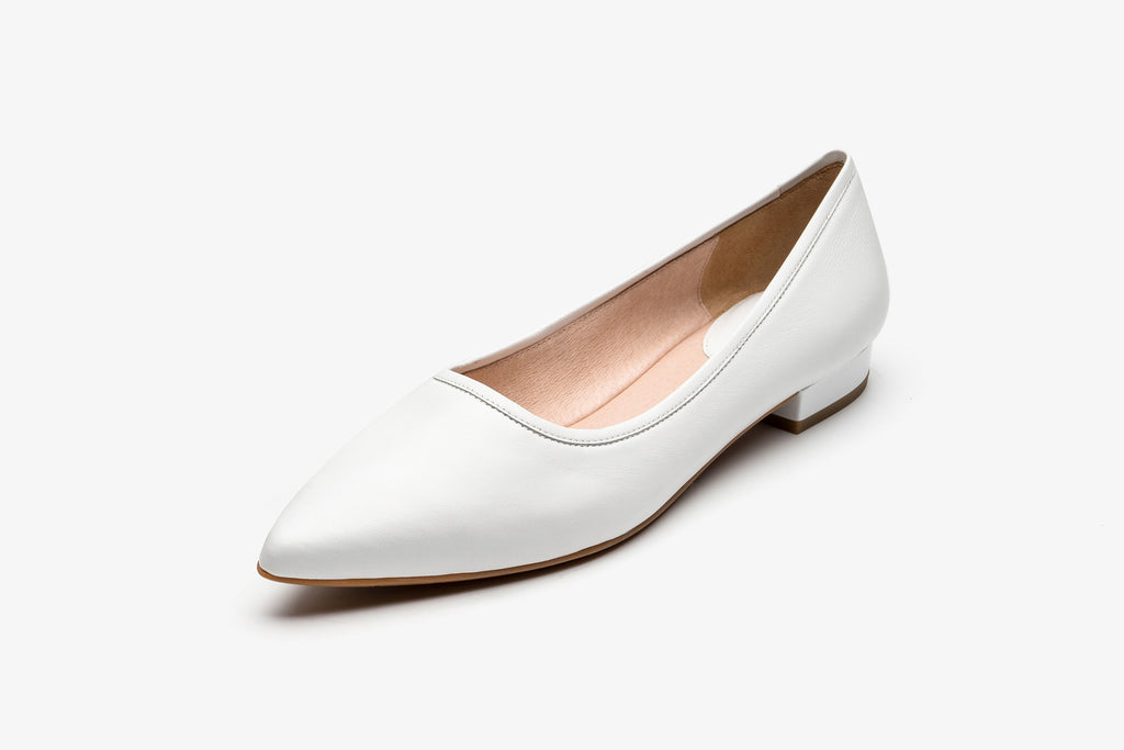 Leather Ballerina Flat Shoes - White