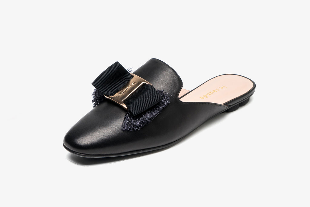 Leather Mules with Bow Detail - Black